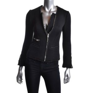 IRo  Distressed Black Fitted Blazer Sweater Jacket